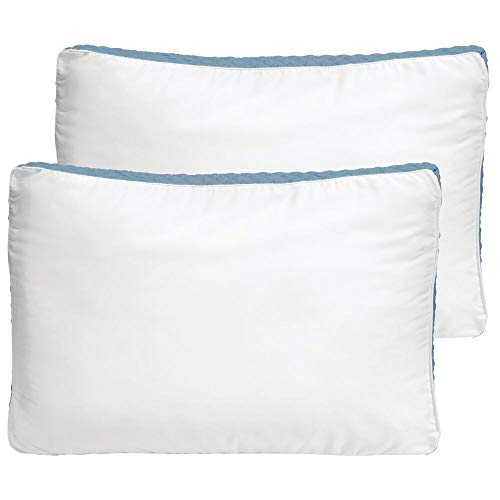mDesign King Size Gusseted Quilted Bed Pillow Set - Premium Quality and Hypoallergenic Pillows - Perfect for Side and Back Sleepers - 2 Pack - Optic White/Blue Gusset