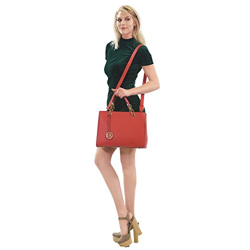 Large Bag Womens Matching Shoulder w Wallet Structured Handle Handbag Purse Satchel Designer Top Tote Red dv7rqv