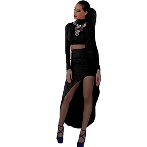 FINEJO Celeb Style Long Sleeves Crop Top + Pencil Skirt Bandage Dress Maxi Skirts