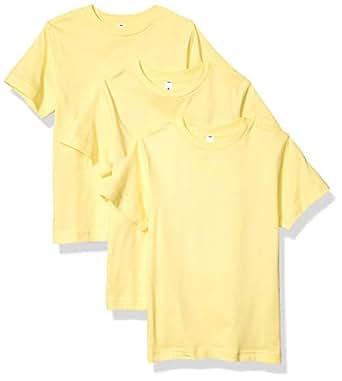 AquaGuard Boys AQU-LA6180-3PK Heavyweight Combed Ringspun Cotton T-Shirt - 3 Pack Short Sleeve T-Shirt - Yellow - X-Small