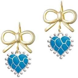 Neon Giraffe Print Heart Gold Tone Layla Bow French Earrings