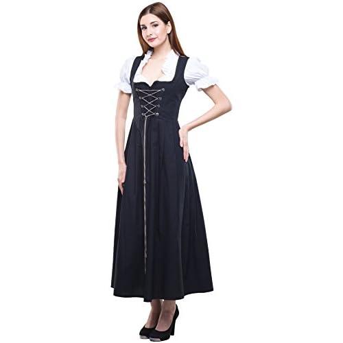 Dirndl Lang schwarz Gastronomie Restaurant Trachtenkleid Kleid Bedienungsdirndl, Waschdirndl, Basicdirndl in den Größen Gr. 38-60