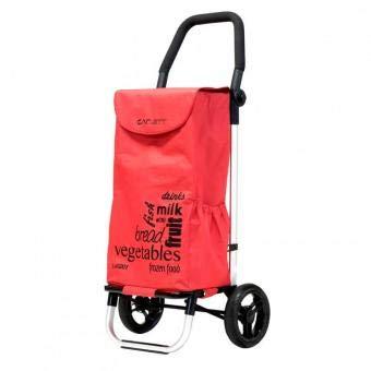 Carlett Lett201 Designer Look Folding 2 Wheel Shopping Trolley with Adjustable Handle (Red)