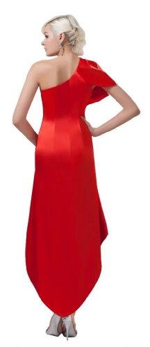 Orifashion para vestido de noche mujer asimétrico Risch Rojo Rojo