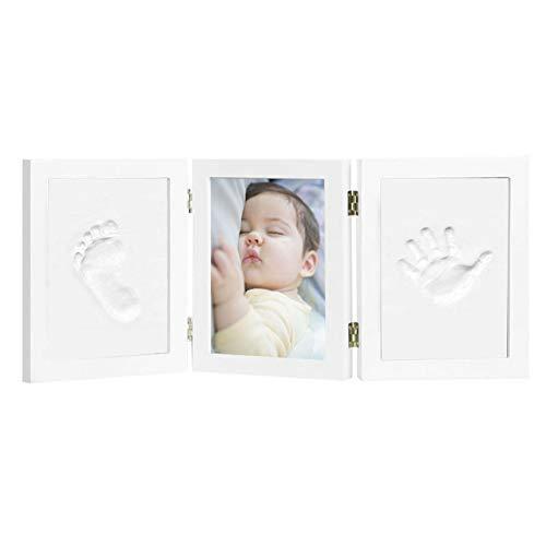 Kit de Marco Para Manos y Huellas 3D de Bebe, Marco Triple de Madera para Fotos, Regalo Recuerdo Perfecto para Baby Shower