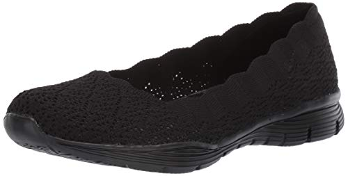 (Skechers Women's Seager-Infield-Scalloped Engineered Knit Skimmer Ballet Flat, Black, 10 M US)