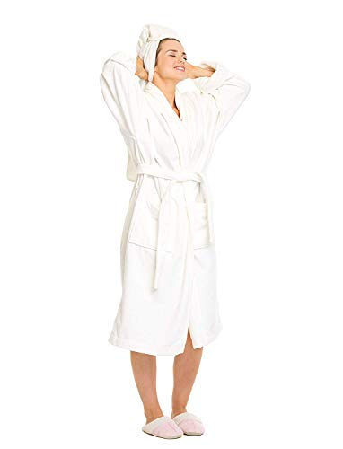 Price comparison product image Luxurious Premium Organic Cotton,  Royal Terry Cloth Robe,  Women's (S / M),  White