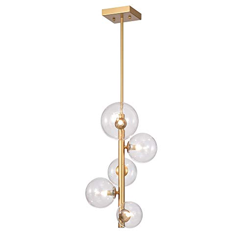 (Modern 5 Light Vertical Gold Chandelier with Clear Glass Shades - Includes Modhaus Living Pen)