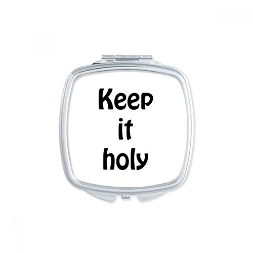 DIYthinker Keep It Holy Christian Quotes Square Compact Makeup Mirror Portable Cute Hand Pocket Mirrors Gift by DIYthinker