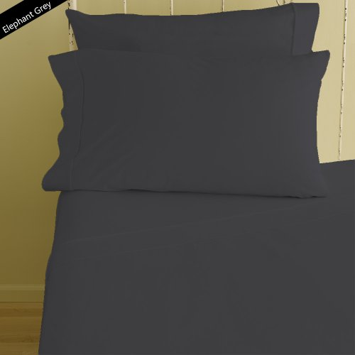 """Rinku Linen 400 Thread Count 100% Egyptian Cotton 4-Piece Sheet Set Three Quarter/Small Double/Antique Size (48"""" x 75"""") Elephant Gray Solid Fit Up To 8"""" Deep Mattress"""