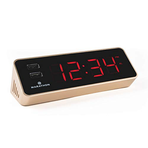 Marathon CL030055GD-RD LED Alarm Clock with Two Fast Charging, Front Facing USB Ports, Version 2.0 with Improved Features for 2019 (Gold/Red)