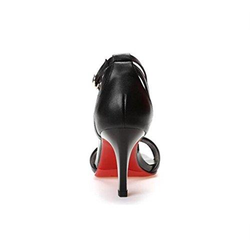 W&LM Sra Tacones altos Sandalias Zapatos de la boca de los pescados Correa Tacones altos De acuerdo Zapato Black