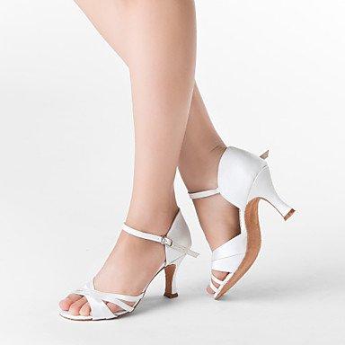XIAMUO Anpassbare Damen Tanzschuhe Latein/Ballsaal Satin angepasste Ferse Weiß, Weiß, uns 4-4,5/EU 34/ UK 2-2,5/CN33