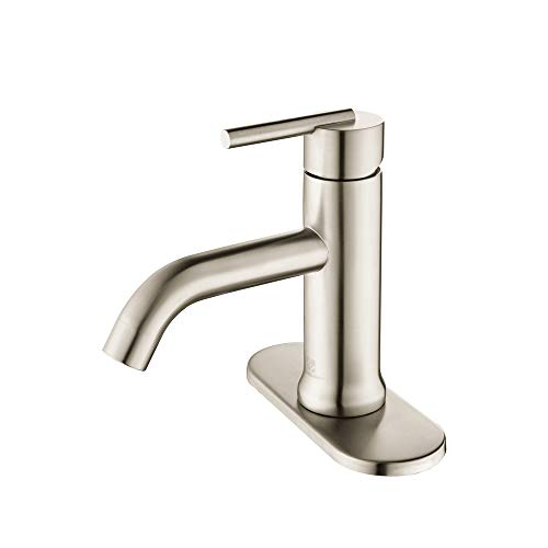 - HOMELODY Bathroom Faucet Single Handle 1 Hole or 3 Hole Deck Mount 304 Stainless Steel Lavatory Faucet Brushed Nickel, 8037BN