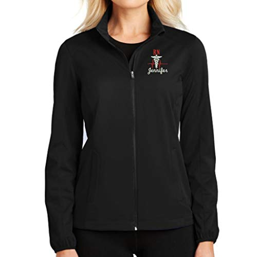(Why Not Stop N Shop RN Nurse Full Zip Jacket with Pockets (Large, Black))