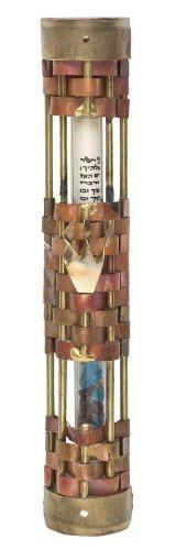 Gary Mezuzah Rosenthal - Woven Metal Crushed Wedding Glass Mezuzah Keepsake by Gary Rosenthal