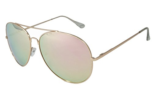 So In Luxe Aviator Retro Fashion Glasses Mirrored Lens Oversized (X-Large, Rose Gold, Pink - Aviator Oversized