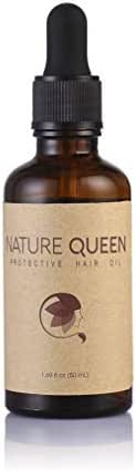 Nature Queen Protective Hair Oil | All Natural | Protect Hair from Environmental Damages | Packed with 9 Essential Oils, Coconut Oil and Rice Bran Oil | For All Hair Types | Gluten-free