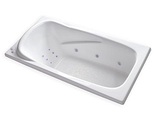 Carver Tubs - AT7136 Hygienic Aqua Massage 12 Jet Whirlpool Bathtub w/ Inline Water Heater - 71 9/16