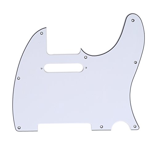 Standard Pickguard Tele (Musiclily 8 Hole Tele Pickguard Scratch Plate for USA/Mexican Made Fender American Standard Telecaster Modern Style Electric Guitar, 3Ply White)