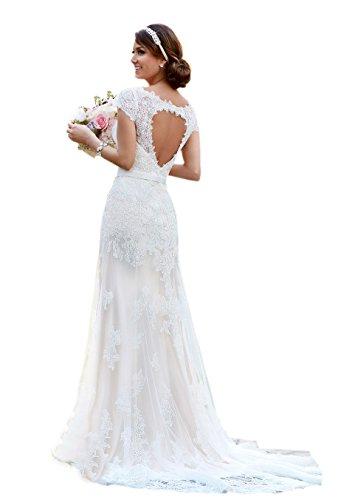 Engerla Mujeres V cuello de encaje mangas cortas Appliques Keyhole Back vestido de novia Blanco