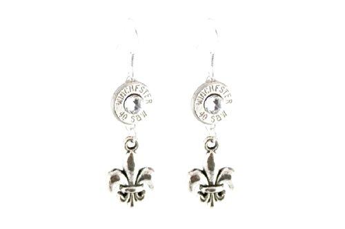 Dangling Fleur de Lis Winchester 40 S&W Caliber Bullet Earrings