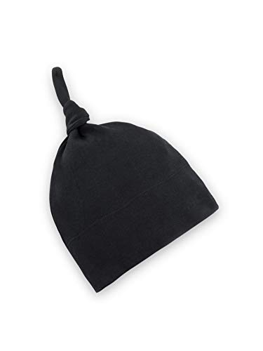 Colored Organics Baby Organic Cotton Knotted Hat - Infant Knit Cap - Newborn 0-3 Months Black ()