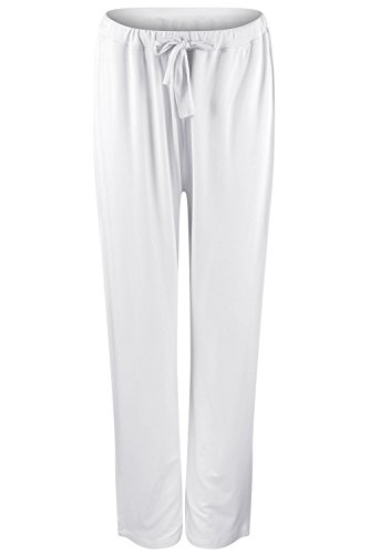 EU Men's Yoga Pants Lounge Trousers Pajama Long Pant Soft Modal Cotton With Pockets White Large