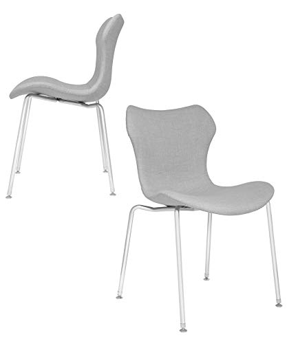 Laura Davidson Furniture Set of 2 - Gramercy Mid Century Modern Dining Chairs (Light Grey)
