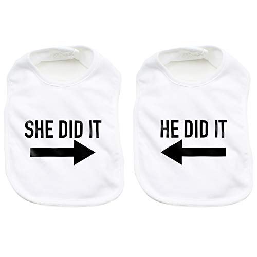 He Did It She Did It Arrow Twin Set Newborn Baby Soft 100% Cotton Bibs, White