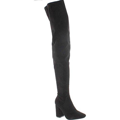 Cape Robbin Betisa-4 Women's Side Zip Block Heel Stretchy Snug Fit Thigh High Boots,Black, (9) (Velvet Thigh High Boots)