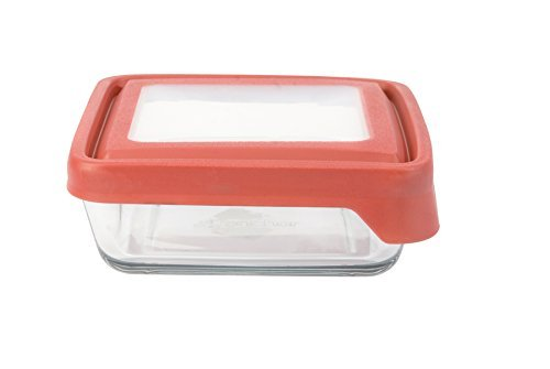 Anchor Hocking 4 3/4 Cup TrueSeal Square Sandwich Container, Cherry Lid by Anchor Hocking