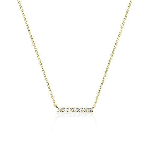 Jewels By Erika N-10BAR 10K Gold Diamond Bar Necklace (yellow-gold)