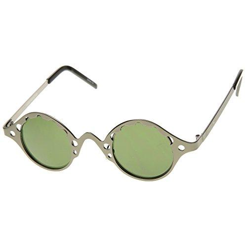zeroUV - Full Metal Unique Retro Steampunk Fashion Round Sunglasses (Chrome Black Retro Glass)