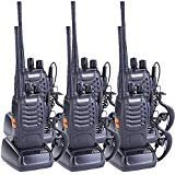 Elephant XuWalkie Talkies UHF400-470MHz US Charger 16 Channels 2 Way Radio with Flashlight (Black,Pack of 6)