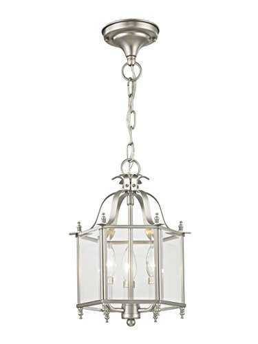 Livex Lighting 4403-91 Home Basics 3 Light Brushed Nickel Hanging Lantern or Flush Mount Chandelier with Clear Beveled Glass by Livex Lighting