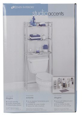 Zenna Home 9035SS, 3-Tier Over-The-Toliet Bathroom Spacesaver Shelf, Chrome/Glass
