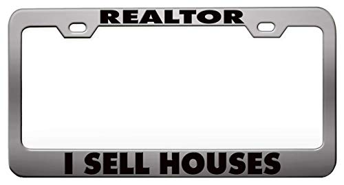 Custom Brother - REALTOR I SELL HOUSES Humor Funny Pink Steel Metal License Plate Frame Auto Car SUV Tag Holder