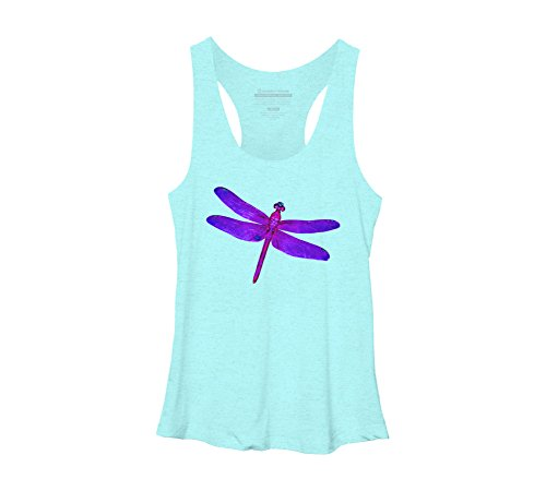 Design By Humans Dragonfly Women's Large Ocean Heather Racerback Tank Top (Design Dragonfly)