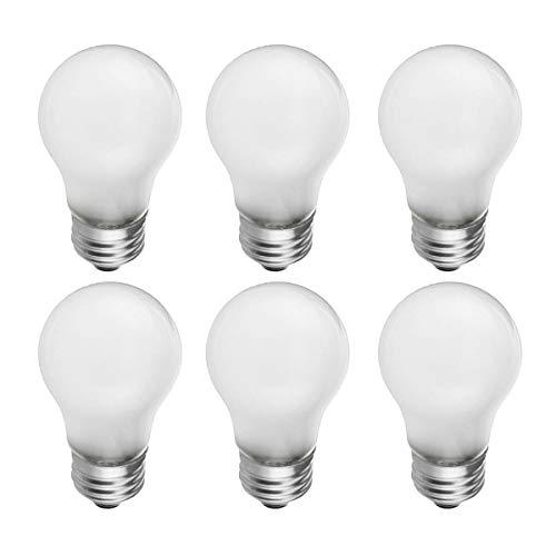 Frosted Appliance - Frosted A15 Incandescent Appliance Light Bulb, 40 Watt, 2700K Soft White, E26 Medium Base, 320 Lumens, 130V (6 Pack)