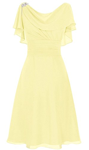 1af2116021 Lily Anny Women Chiffon Draped Neck Short Mother Of Bride Dress L086LF  Yellow US17W