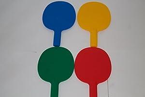 Set von 4robustem Kunststoff Tischtennisschlägern/Pingpong/Auktion/Spiel...