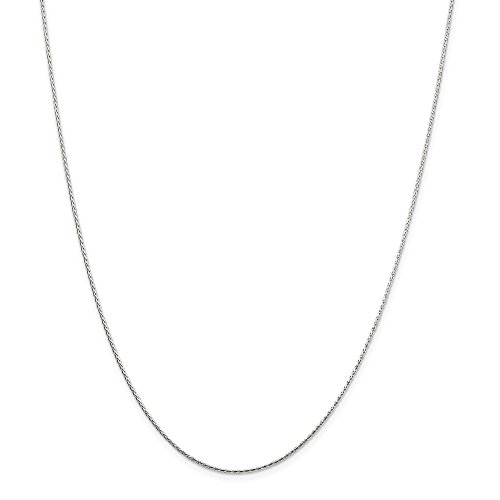 925 Sterling Silver 1.25mm Round Spiga Chain Necklace 20 Inch Pendant Charm Wheat Fine Jewelry Gifts For Women For Her ()