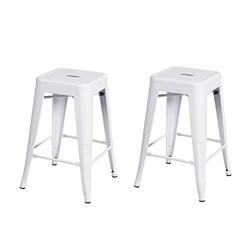 Joveco 24 Inches Sheet Metal Frame Tolix Style Industrial Chic Chair Backless Bar Counter Stools - Set of 2 (White) Wholesale Price Available (French Style Counter Stool)