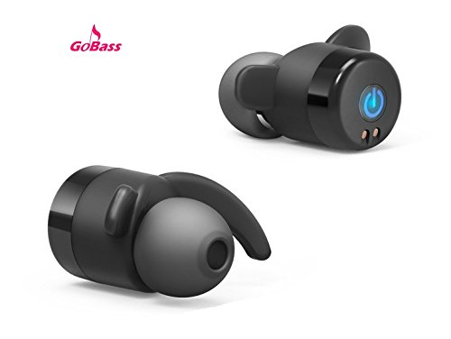 Truly Wireless Earbuds, GoBass True Wireless Sport Earbuds, Bluetooth Stereo CSR 4.2 In-Ear Sport Noise Cancelling Sweatproof Headset with Mic for iPhone iPad Tablet and Other Smartphones