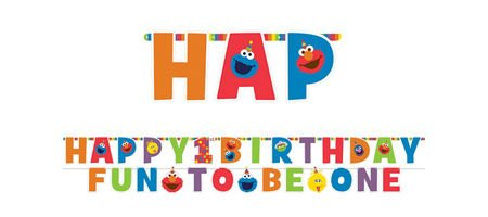 amscan 1st Birthday Elmo Letter Banner Kit Party Supplies Elmo Sesame Street Fun to be One! -