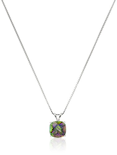 Sterling Silver Cushion Checkerboard Cut Mystic Topaz Pendant Necklace (8mm) (Topaz Jewellery Mystic)