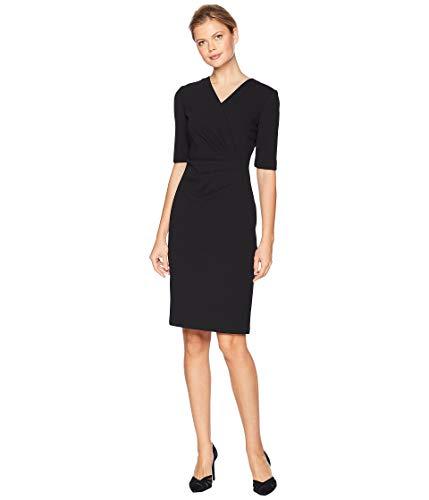 Tahari by ASL Women's Short Sleeve Crepe Dress with Side Pleat Detail Black 6