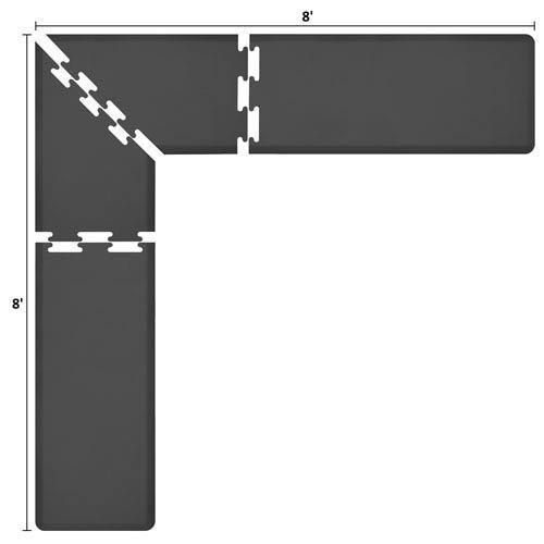 WellnessMatsパズルピースコレクション2足Wide Lシリーズブラック抗疲労8 x 8足マット   B005EV98Z8