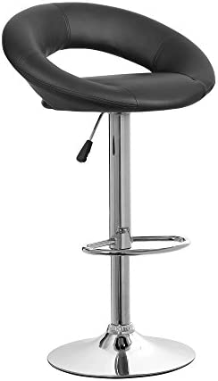 NORDIN Adjustable Bar Stool Modern Pu Leather Swivel Square Counter Height Kitchen Teacher Bar Chair Black